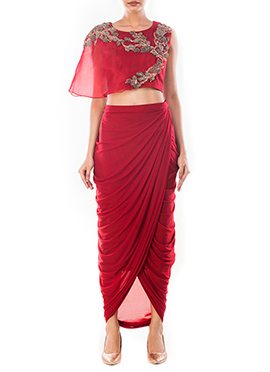 Wine Draped Skirt Set