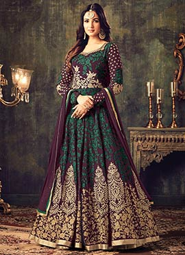 Wine Embroidered Abaya Style Anarkali Suit