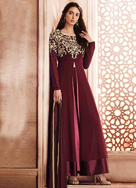 Wine Embroidered Abaya Style Anarkali Suit