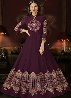 Gauhar Khan Wine Abaya Style Anarkali Suit
