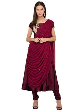 Wine Embroidered Anarkali Suit