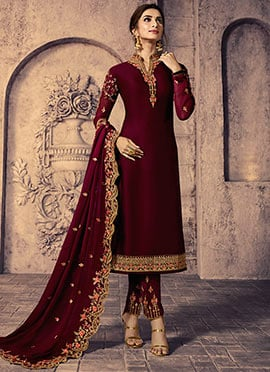 Wine Embroidered Straight Pant Suit
