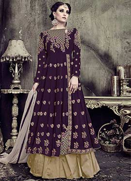 Wine Embroidered Umbrella Lehenga