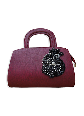 Wine Faux Leather Hand Bag