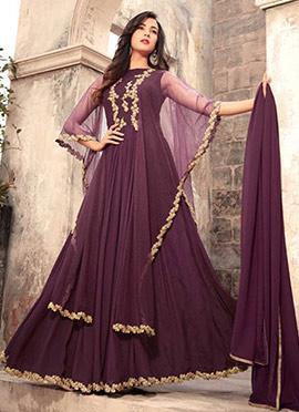 Wine Georgette Capes Style Anarkali Suit
