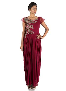 Wine Georgette Dhoti Drape Gown