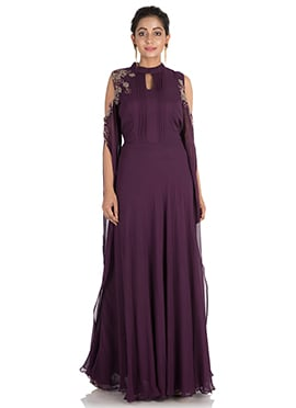 Wine Georgette Gown