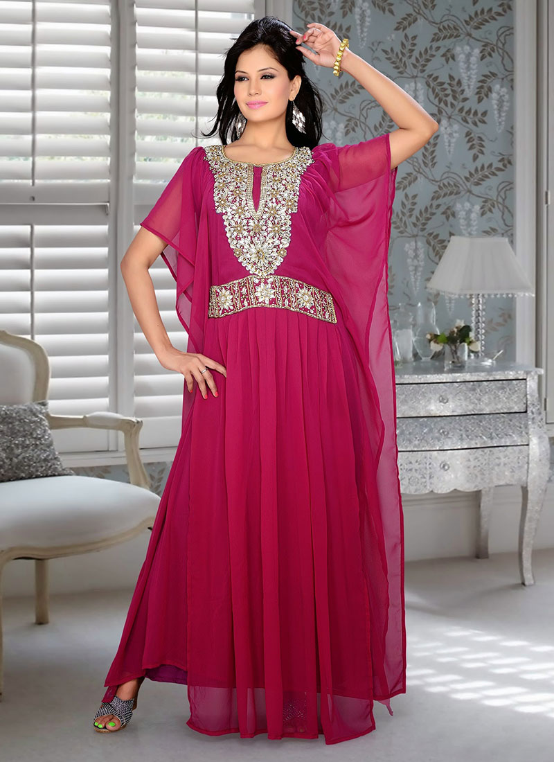 10af3dbf64 Buy Red Georgette Plus Size Kaftan Dress, Beads , Crystals, tops and ...