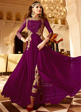 Purple Georgette Straight Pant Suit