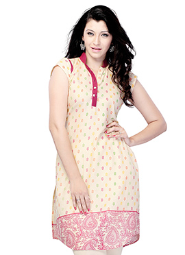 Wine N Beige Blended Cotton Short Kurti