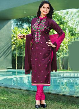 Wine Poly Cotton Churidar Suit