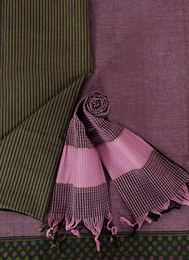 Wine Pure Handloom Cotton Dress Material