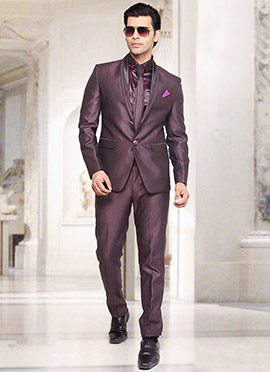Wine Rayon Lapel Suit
