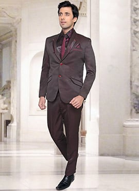 Wine Satin Lapel Suit