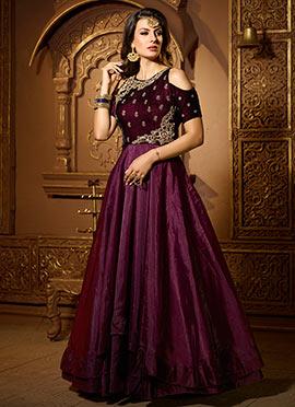 Wine Satin Silk Velvet Abaya Style Anarkali Suit