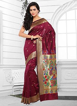 Wine Silk Cotton Saree