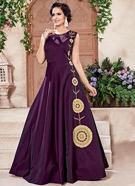 Wine Taffeta Anarkali Gown