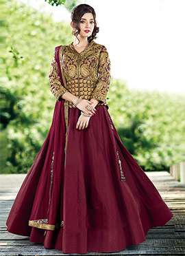 Wine Umbrella Long Choli Lehenga