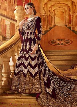 Wine Velvet Net Trial Style Gown