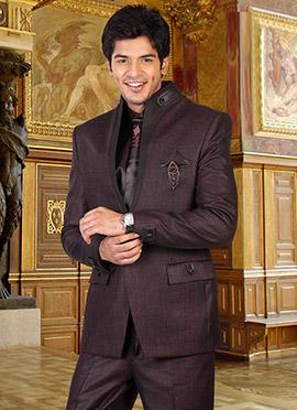 Wonderous Wine Collar Style Plus Size Suit