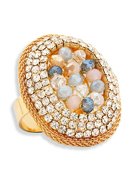 Yazuri Stone Studded Adjustable Ring