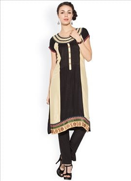 Yellow And Black Cotton Plus Size Kurti