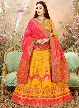 Yellow Art Benarasi Silk A Line Lehenga