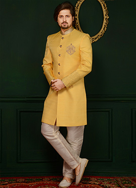 Yellow Art Benarasi Silk Indowestern Sherwani