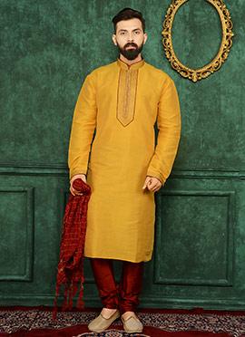 Yellow Art Benarasi Silk Kurta Pyjama
