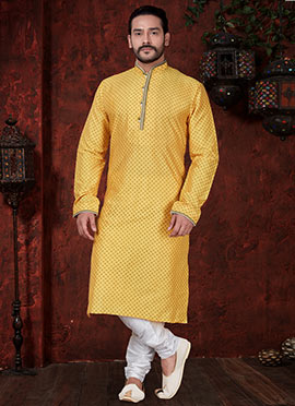 d2993feff7 Yellow Kurta Pyjamas For Men's | Latest Designer Yellow Kurta Pyjamas