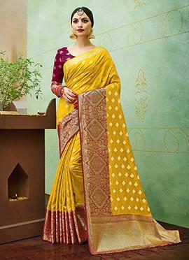 Yellow Art Benarasi Silk Saree
