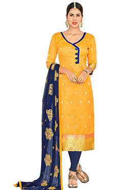 Yellow Art Benarasi Silk Straight Suit