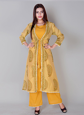 Yellow Art Chanderi Silk Palazzo Set
