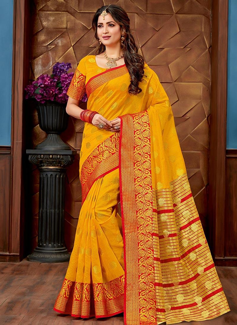5145b1bd75dc70 Buy Yellow Art Chanderi Silk Saree, Zari , Chanderi, sari Online ...