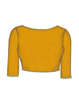 Yellow Art Dupion Silk Blouse