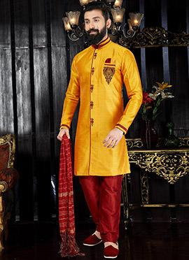 Yellow Art Dupion Silk Indo western kurta Pyjama