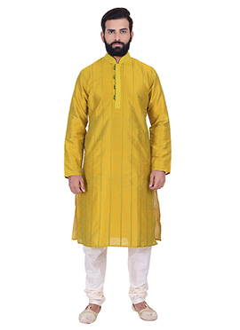 Yellow Art Dupion Silk Kurta Pyjama