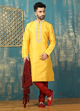 Yellow Art Dupion Silk Kurta Pyjama