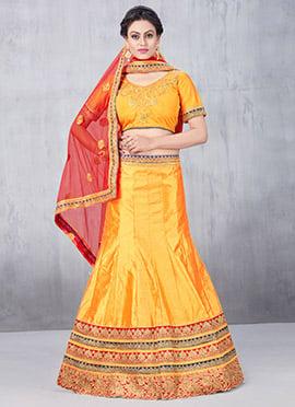 Yellow Art Silk A Line Lehenga