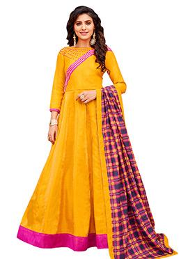 Yellow Art Silk Abaya Style Anarkali Suit