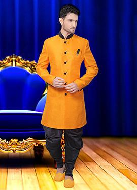 Yellow Art Silk Achkan Sherwani