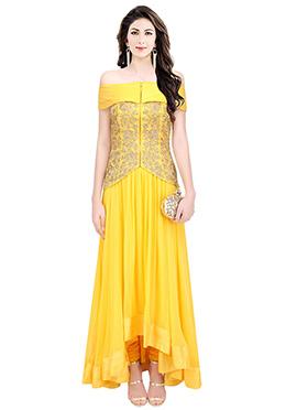 Yellow Art Silk Anarkali Set