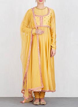 Yellow Art Silk Anarkali Suit