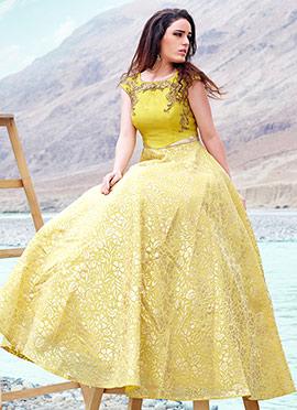 Yellow Art Silk Ball Gown
