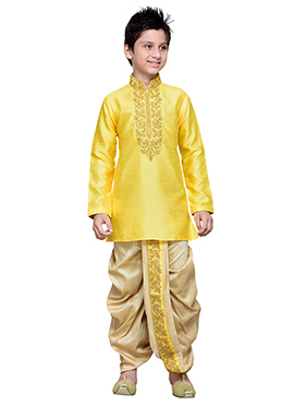 Yellow Art Silk Boys Dhoti Kurta