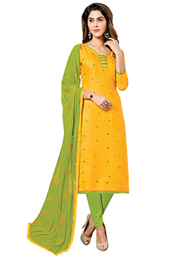 Yellow Art Silk Churidar Suit