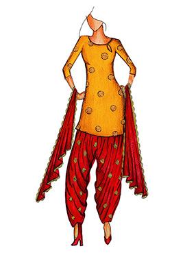 Yellow Art Silk Cowled Patiala Suit
