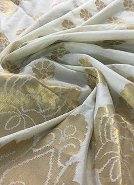 Off White Art Silk Ready To Dye Dupatta