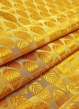 Yellow Art Silk Brocade Fabric