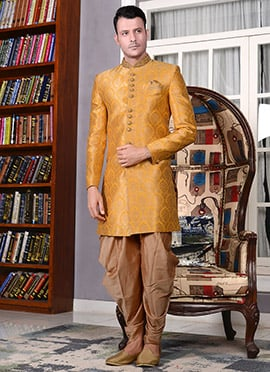 Yellow Art Silk Indowestern Sherwani
